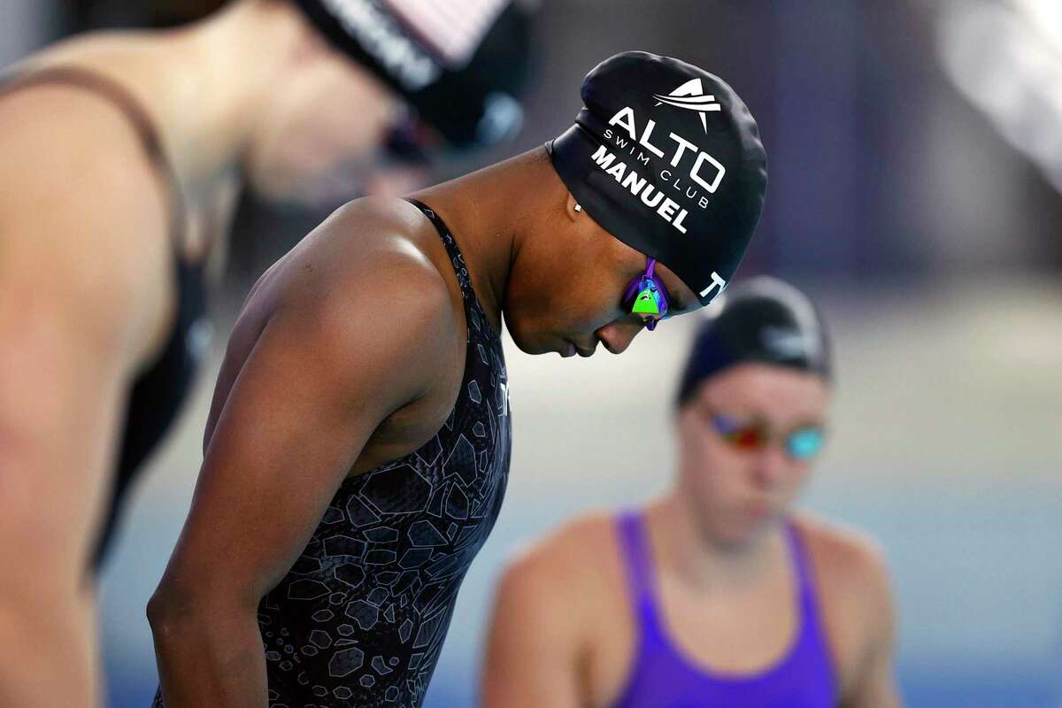 Simone Manuel competed recently in San Antonio as she prepares for the Olympic trials.