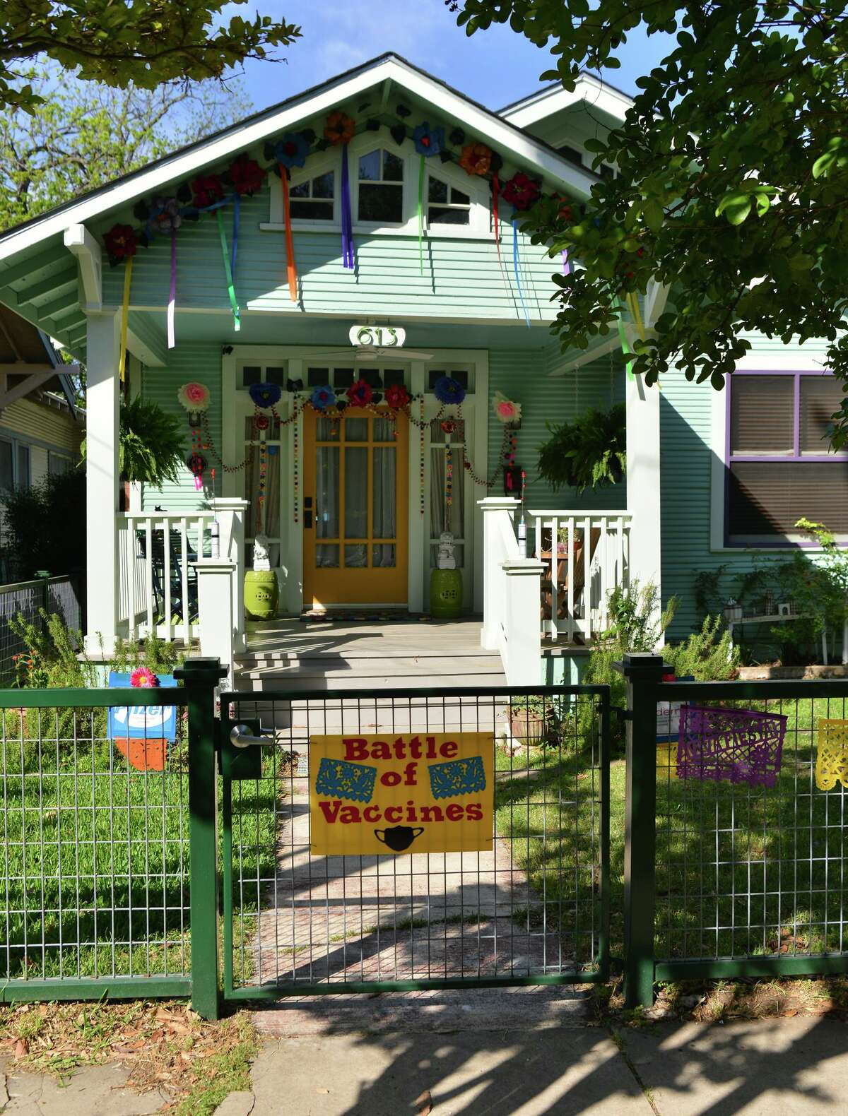 The home of artist Leigh Anne Lester and her husband Nick has a COVID-19 theme.