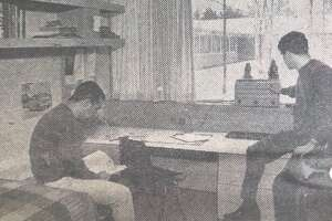 A student room at Northwood's men's dormitory wing, designed by Alden B Dow. January 1966, The Northwood Story
