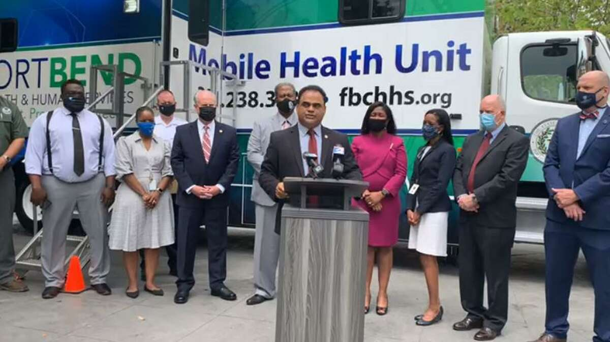 Fort Bend County Judge KP George details the county's new COVID-19 vaccine mobile unit at a press conference on April 13, 2021.