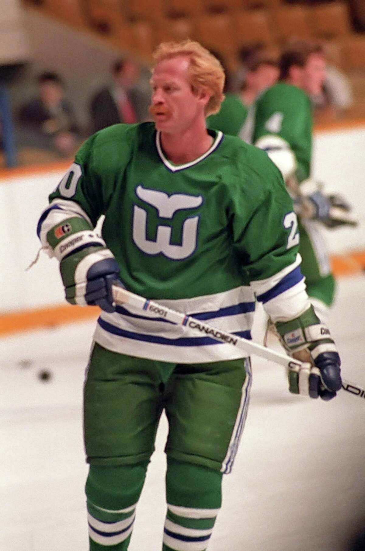 TORONTO, ON - OCTOBER 30: John Anderson #20 of the Hartford Whalers skates against the Toronto Maple Leafs during NHL game action on October 30, 1986 at Maple Leaf Gardens in Toronto, Ontario, Canada. Toronto defeated Hartford 6-2. (Photo by Graig Abel/Getty Images)
