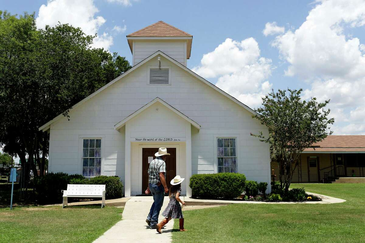 The former First Baptist Church of Sutherland Springs. Since the November 2017 mass shooting, it has been turned into a memorial.