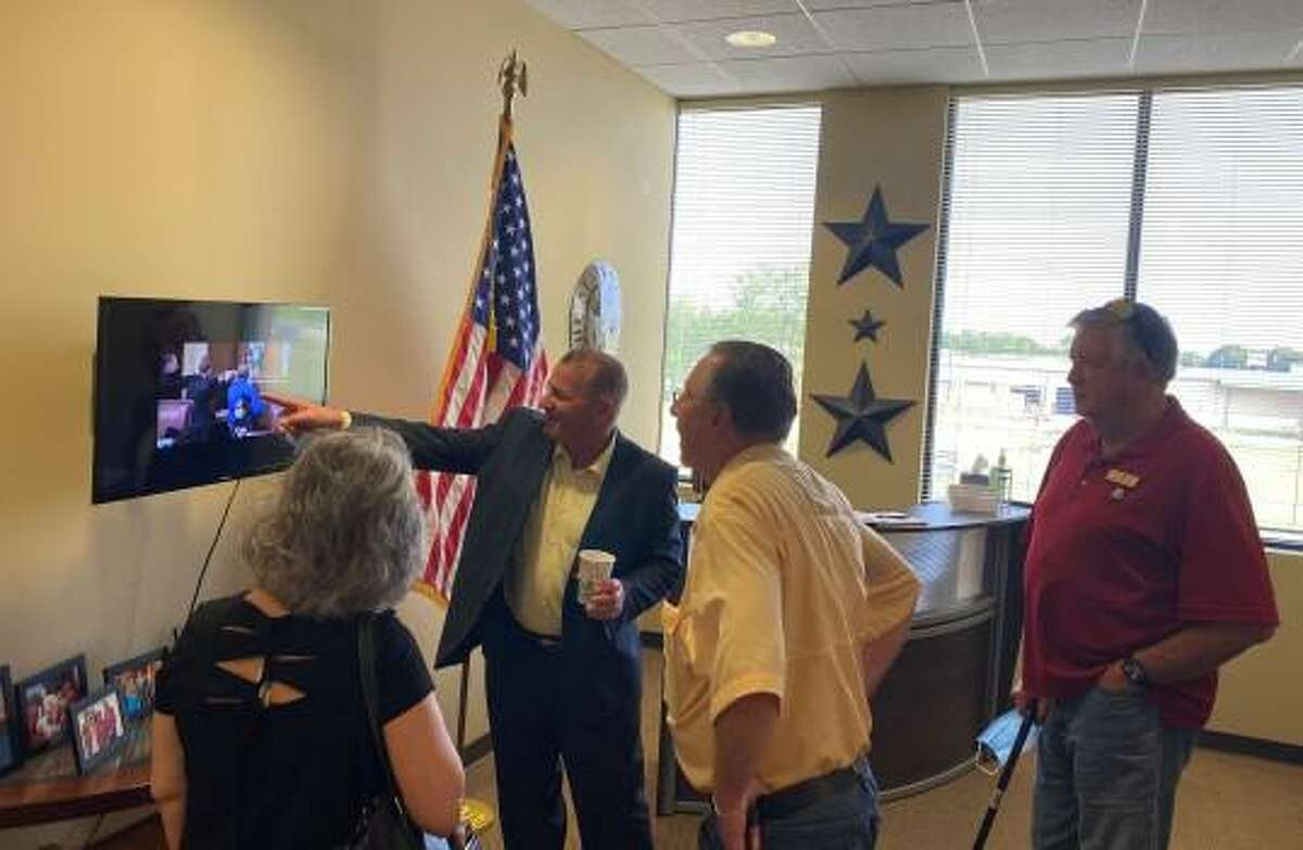 U.S. Rep. Troy Nehls discussed his viral image with constituents at the opening of his Richmond office on Saturday, April 10, 2021.