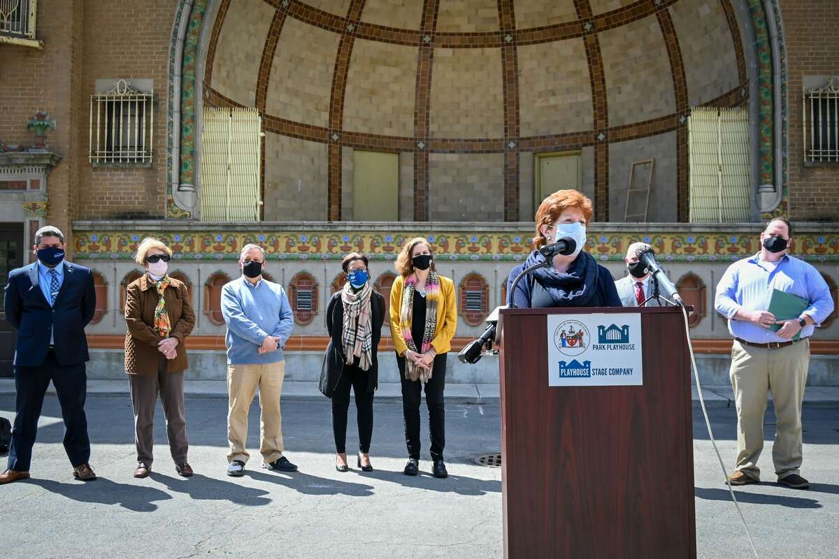 """Albany Mayor Kathy Sheehan speaks during a news conference Tuesday, April 13, 2021, in front of the Washington Park Lakehouse. The event was held to announce that Park Playhouse, which canceled its summer 2020 season because of the coronavirus pandemic, will present productions of the Fats Waller revue""""Ain't Misbehavin'"""" in July and the children's show """"Matilda the Musical"""" in August. (Photo by Sabrina Flores/Relentless Awareness for Playhouse Stage Company.)"""