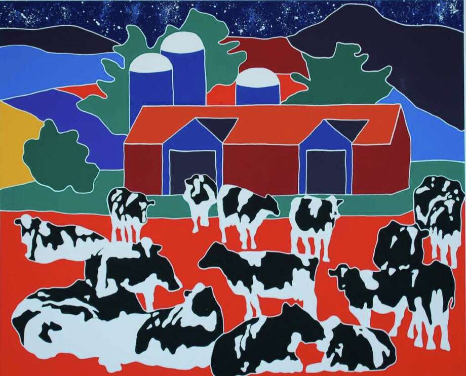 """Paintings by Vermont resident Woody Jackson, known for his work with Ben & Jerry's Homemade Ice Cream products, will be on view at the Flinn Gallery as part of the exhibit, """"Barns & Farms: Iconic Rural Images."""" Photo: Contributed Photo / Connecticut Post Contributed"""