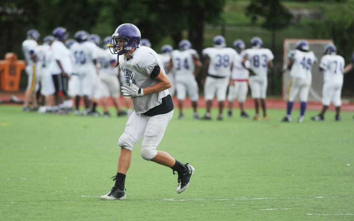 Westhill High School football captain Anthony Vitiello practices at Westhill in Stamford, Conn. on Friday September 10, 2010.