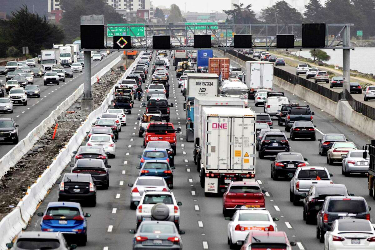Morning commuter traffic backs up on Interstate 80 westbound in Berkeley. A year after the pandemic caused traffic across the bay to drop by 50%, it's nearly back to pre-pandemic normal.