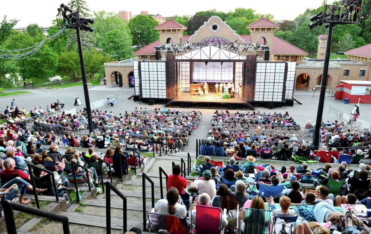 """""""Singin' in the Rain"""" at Park Playhouse in Albany's Washington Park in summer 2015."""