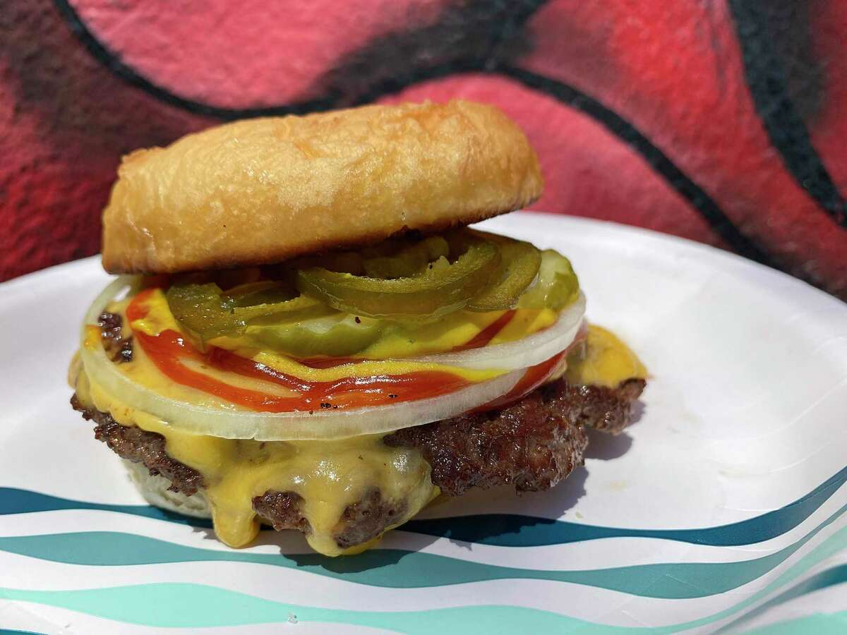 The Pumpers #1 with double meat, cheese, onions, pickles and optional candied jalapeńos from the Pumpers popup at Little Death on North St. Mary's Street ranks No. 13 among the Top 15 Burgers in San Antonio.