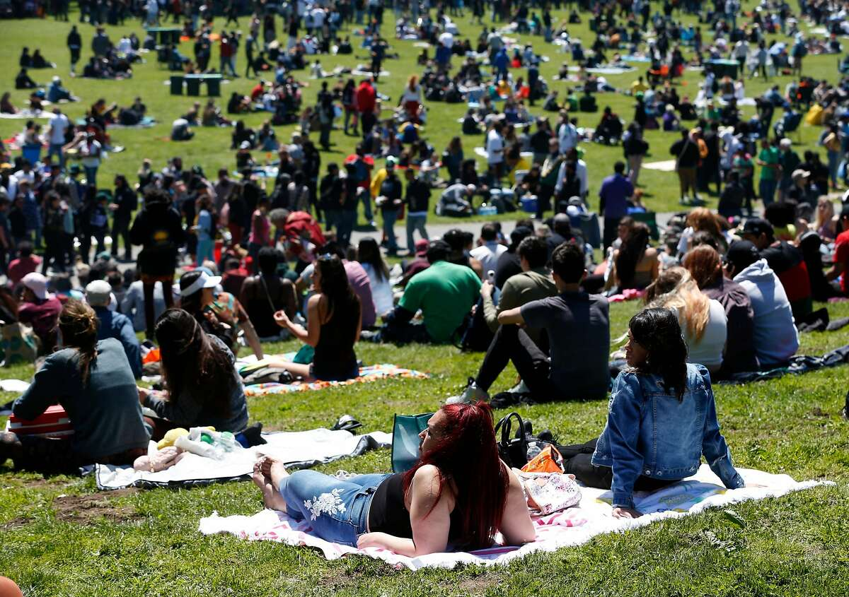 People gather for the annual 4/20 celebration of cannabis at Golden Gate Park in San Francisco in 2018.