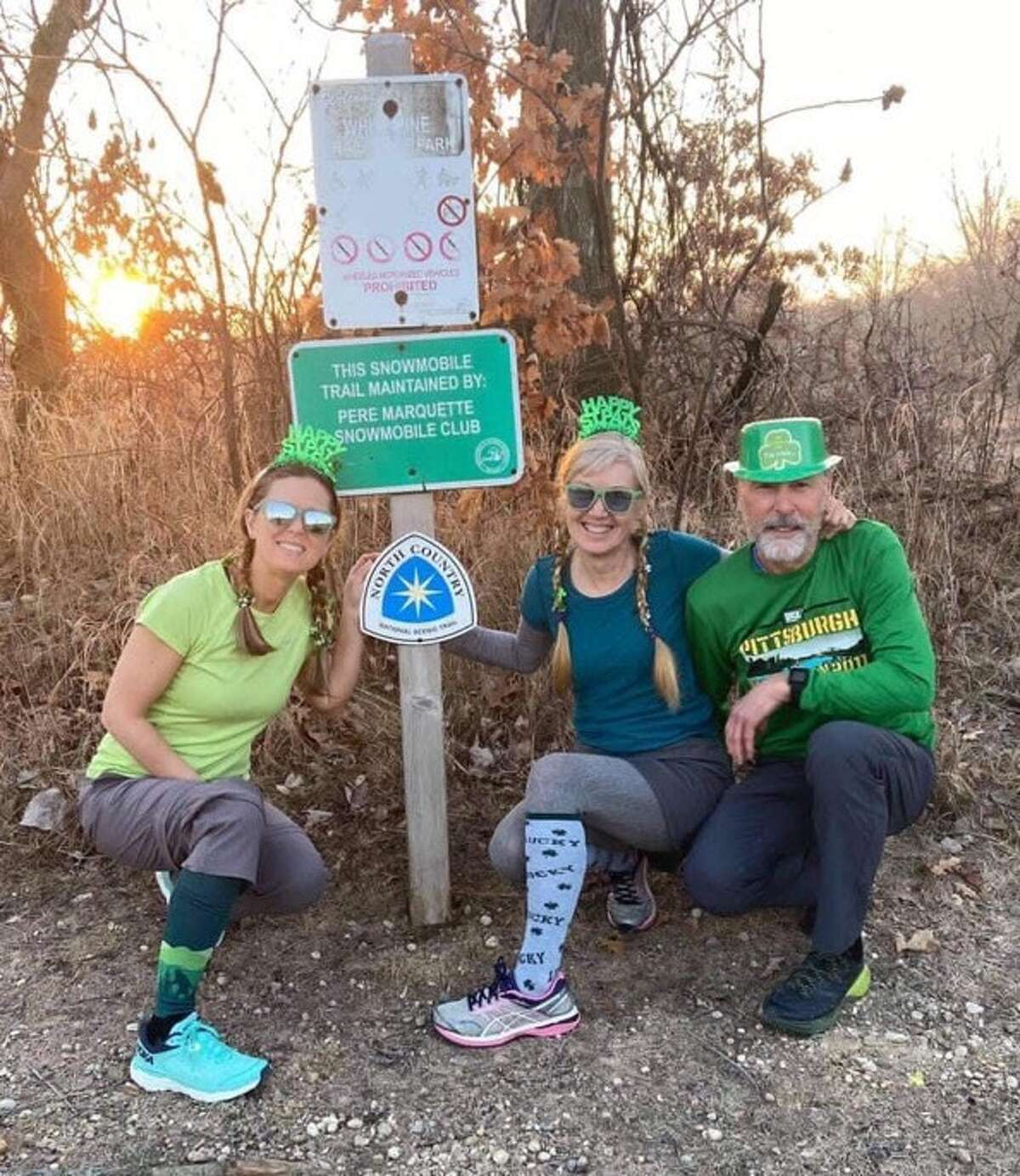 Kristie Wheeler, Marit Janse and Steve Ruggirello could each be seen decked in green on St. Patrick's Day on the North Country Trail this year.