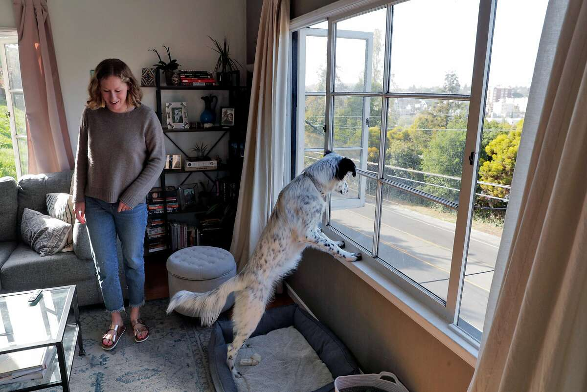 Alex Brandenburg walks by as her pup, Pepper, checks out the scenery from their Oakland home.