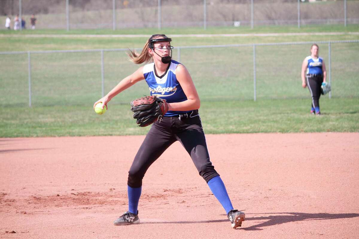 Onekama pitcher Sophie Wisniski works on her fielding during practice earlier this spring. (News Advocate file photo)