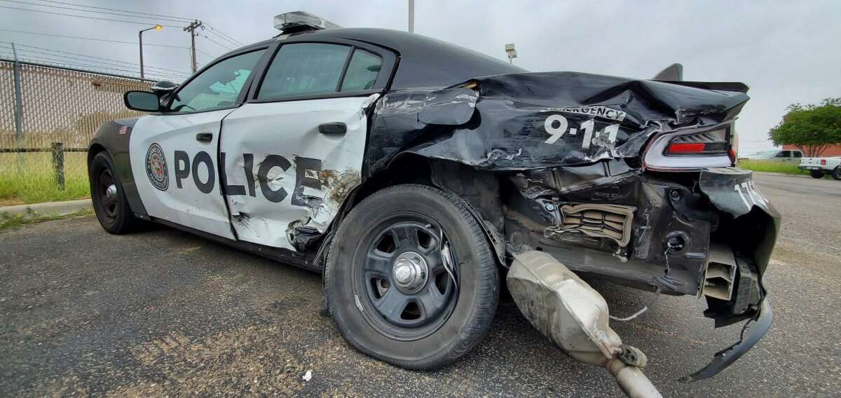 A suspected drunk driver crashed into this Laredo police marked unit over the weekend. The driver and the officer were taken to local hospitals for non-life threatening injuries.