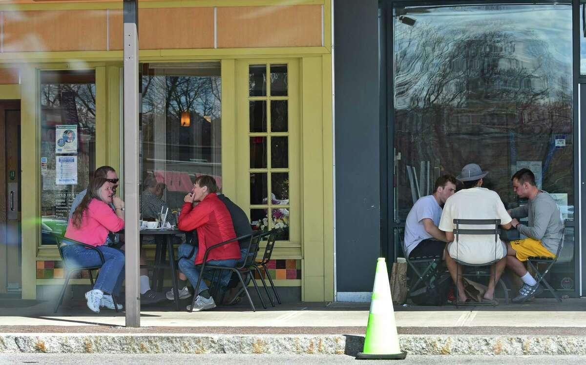 People dine al fresco at restaurants in Stuyvesant Plaza on Tuesday, April 13, 2021 in Albany, N.Y. (Lori Van Buren/Times Union) ORG XMIT: ALB2104131449230013