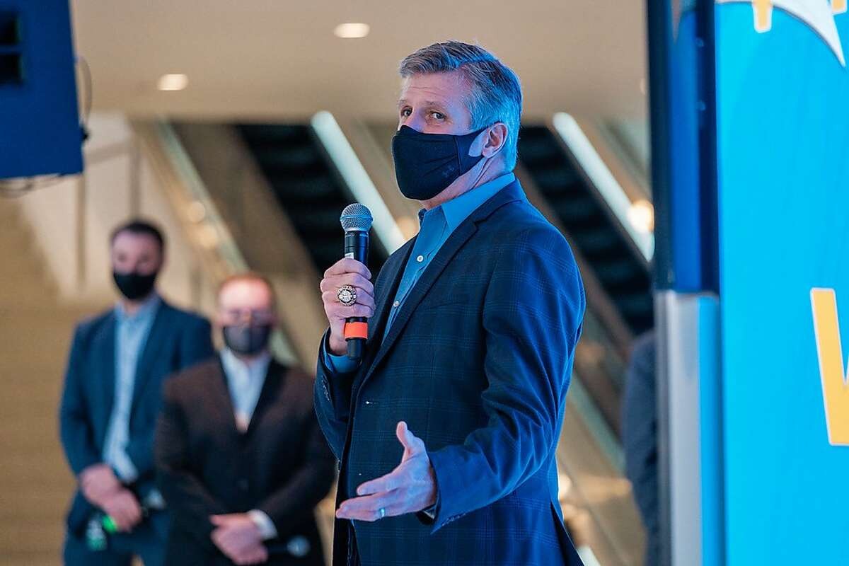 Rick Welts, Team President and COO of the Golden State Warriors speaks to the media at the Chase Center in San Francisco on Tuesday, April 13, 2020. The Warriors plan to welcome fans back to the Chase Center for games beginning on April 23rd.
