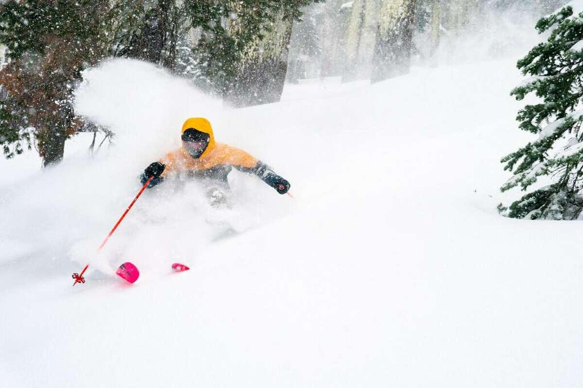 A skier at Sierra-at-Tahoe ski resort on Wednesday, Jan. 27.