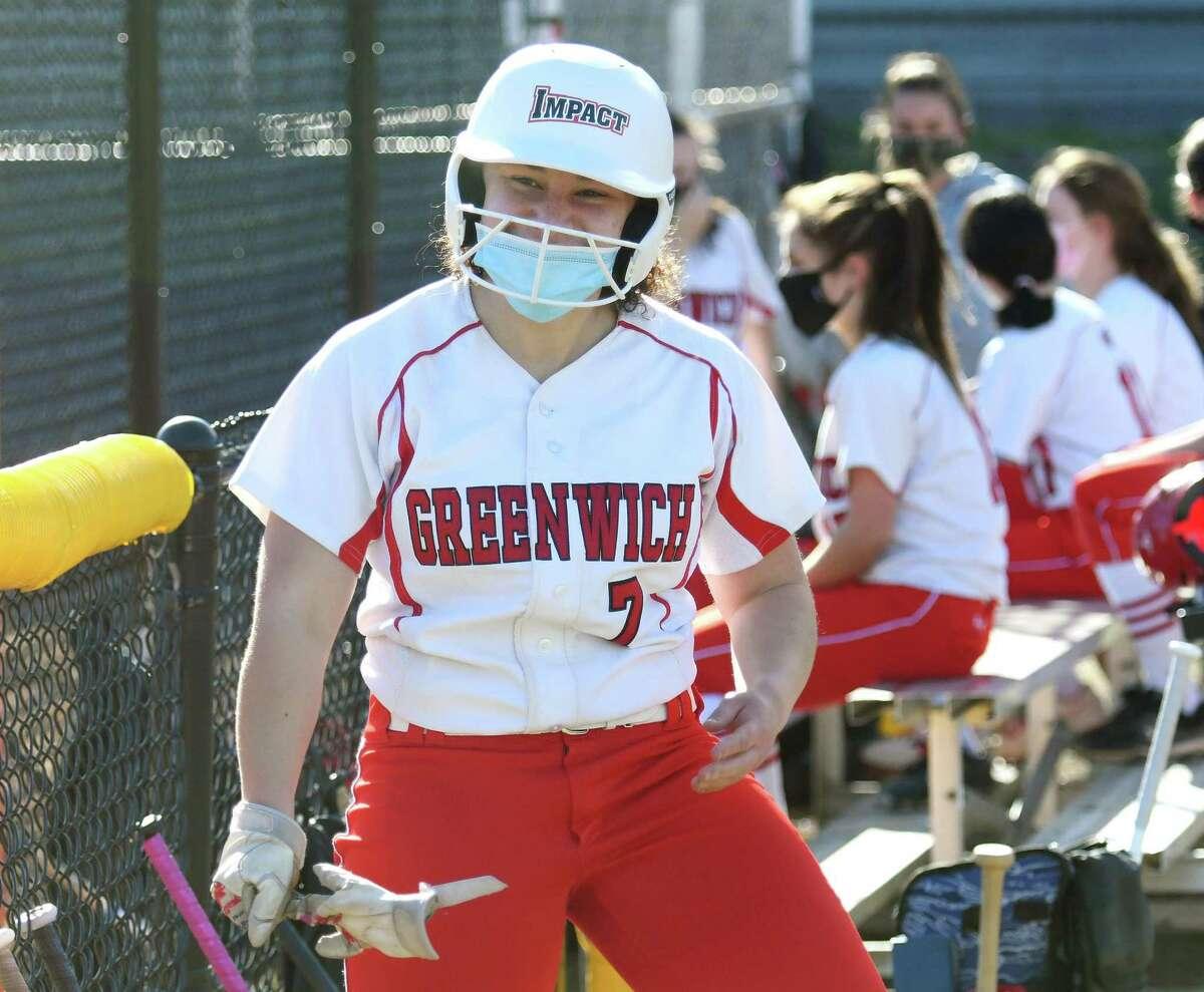 Greenwich catcher Olivia McClammy celebrates her home run in the high school softball game between Greenwich High School and Stamford High School at Stamford High School in Stamford, Conn. Tuesday, April 13, 2021.