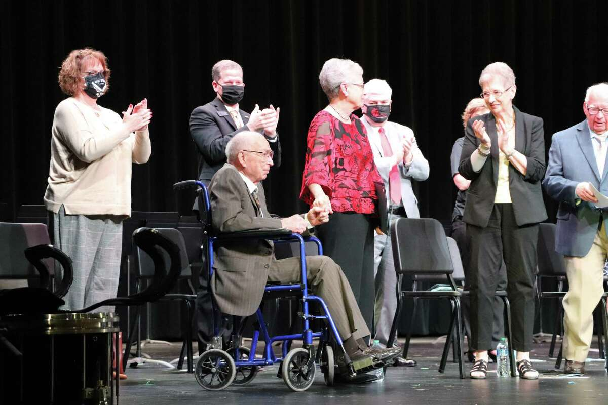 As Jordan High School was dedicated on Monday, April 12, in Fulshear, Melvin Jordan, front, was recognized. At 95, he is considered the oldest living male from Katy's original founding families. The high school has multiple Jordan namesakes, as the family has a long heritage of supporting Katy Independent School District.