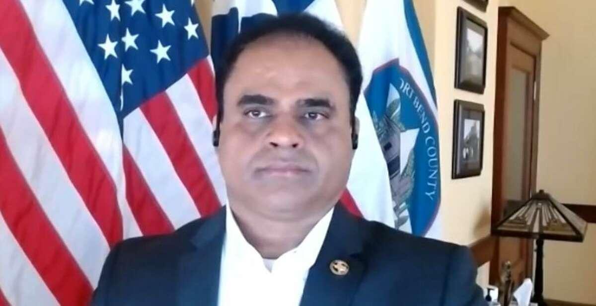 Fort Bend County Judge KP George speaks via Facebook live video on Feb. 9, 2021.