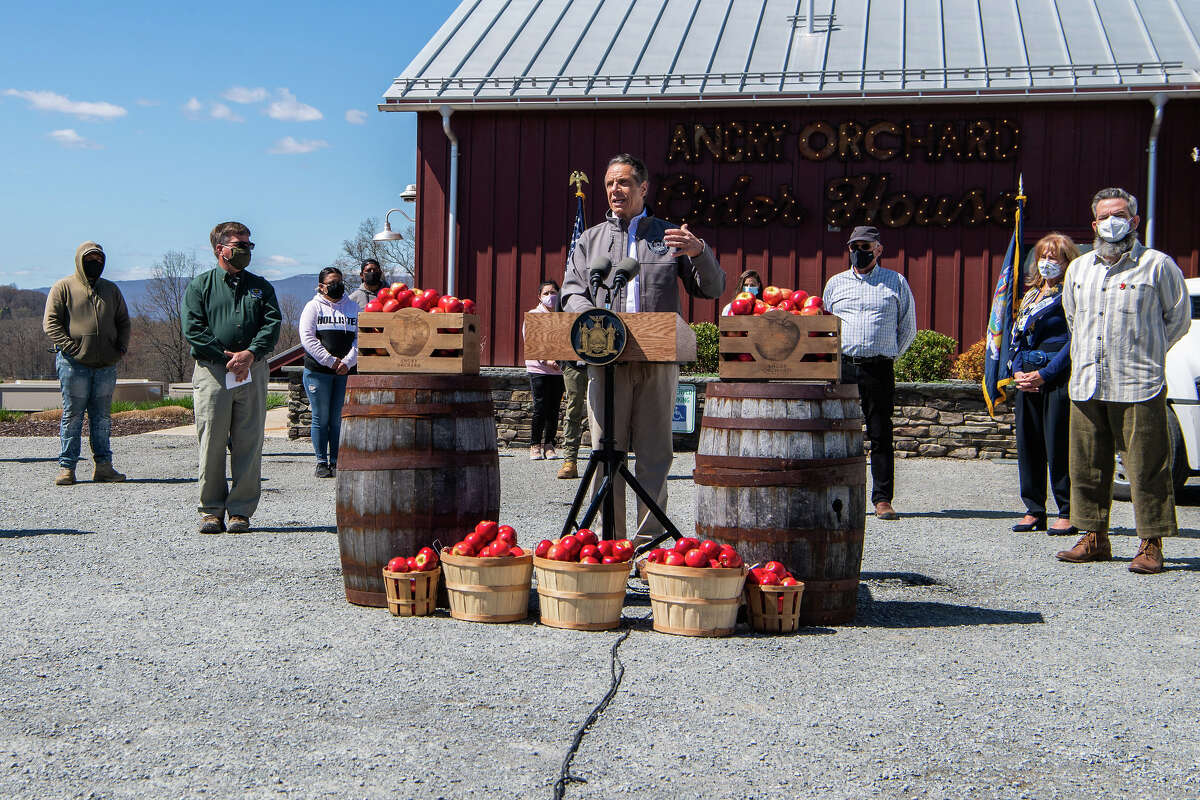 Gov. Andrew Cuomo holds a COVID-19 briefing and announcement at Angry Orchard in Walden, Orange County, on Tuesday, April 13. (Darren McGee/Executive Chamber)