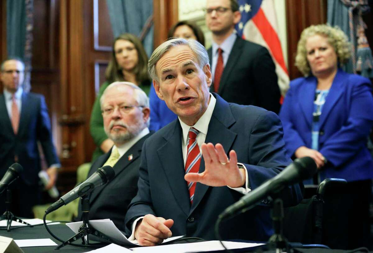 Governor Greg Abbott speaks at the state capitol concerning the latest developments statewide in the coronavirus issue on March. 13, 2020.