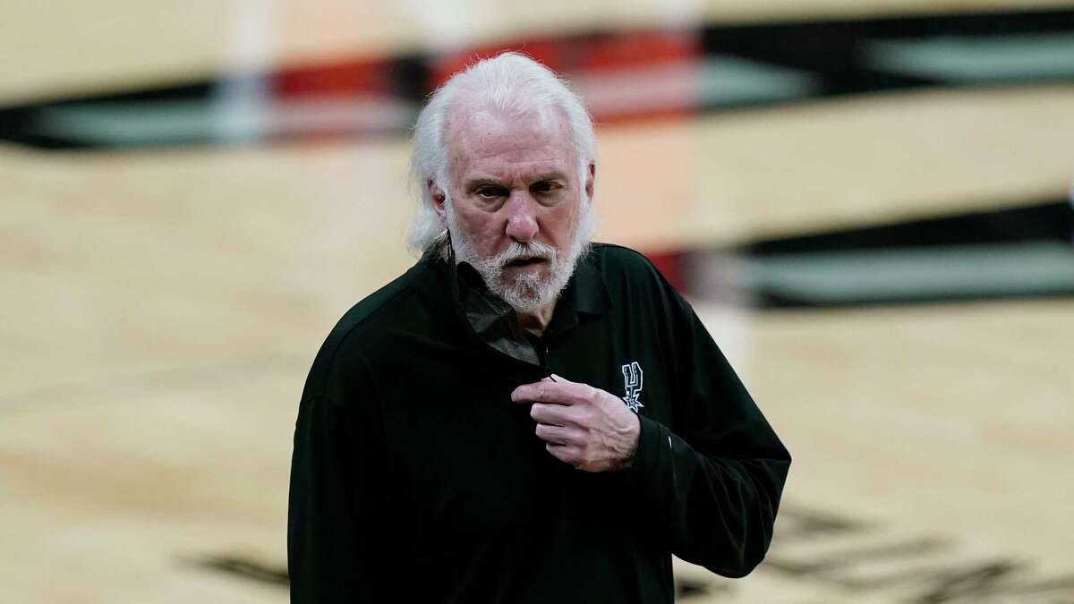 San Antonio Spurs head coach Gregg Popovich during the second half of an NBA basketball game against the Oklahoma City Thunder in San Antonio, Friday, March 5, 2021. (AP Photo/Eric Gay)
