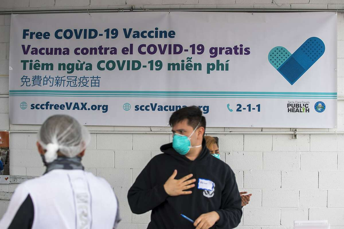 At a pop-up COVID-19 vaccination site at Monterey Mushrooms in Morgan Hill,Santa Clara County Health Department administered Moderna vaccinations to vaccinate around 500 people.
