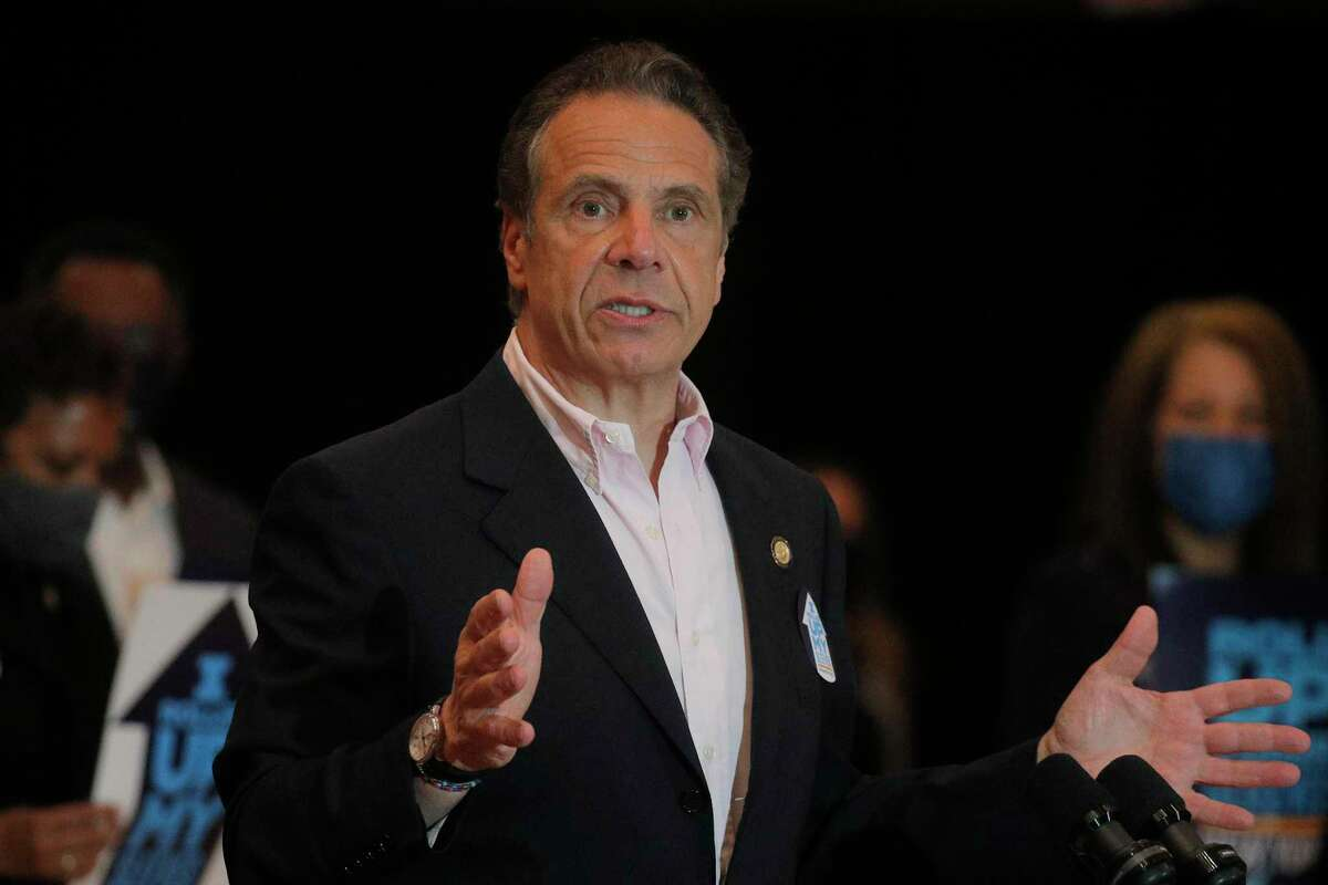 Gov. Andrew Cuomo speaks at Rochdale Village Community Center in Queens on April 5, 2021. (Photo by Brendan McDermid-Pool/Getty Images)