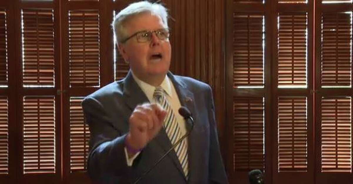 Lt. Gov. Dan Patrick denounces opponents of GOP election bills at an April 2021 press conference at the Texas Capitol.