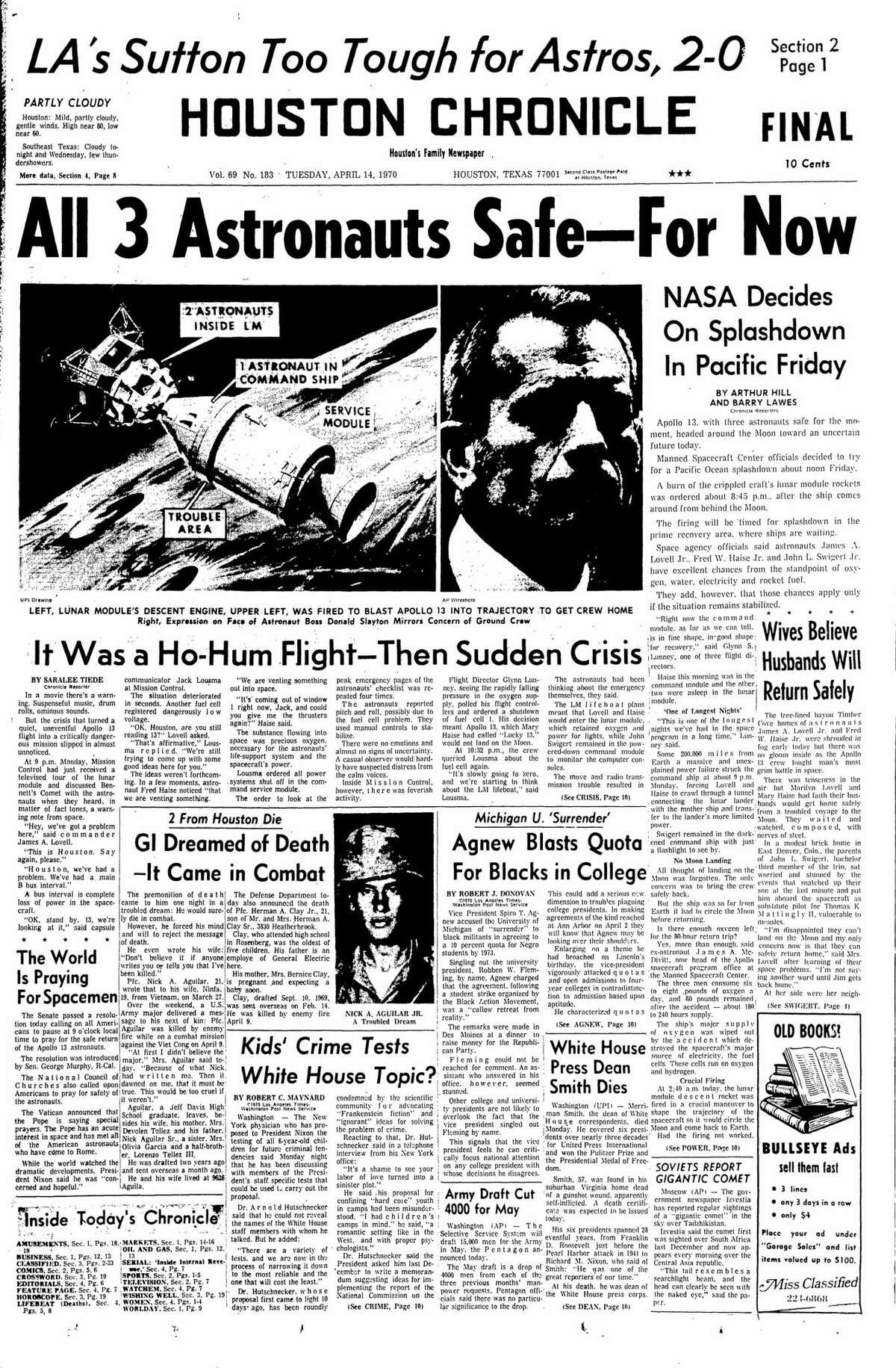 Houston Chronicle front page from April 14, 1970.