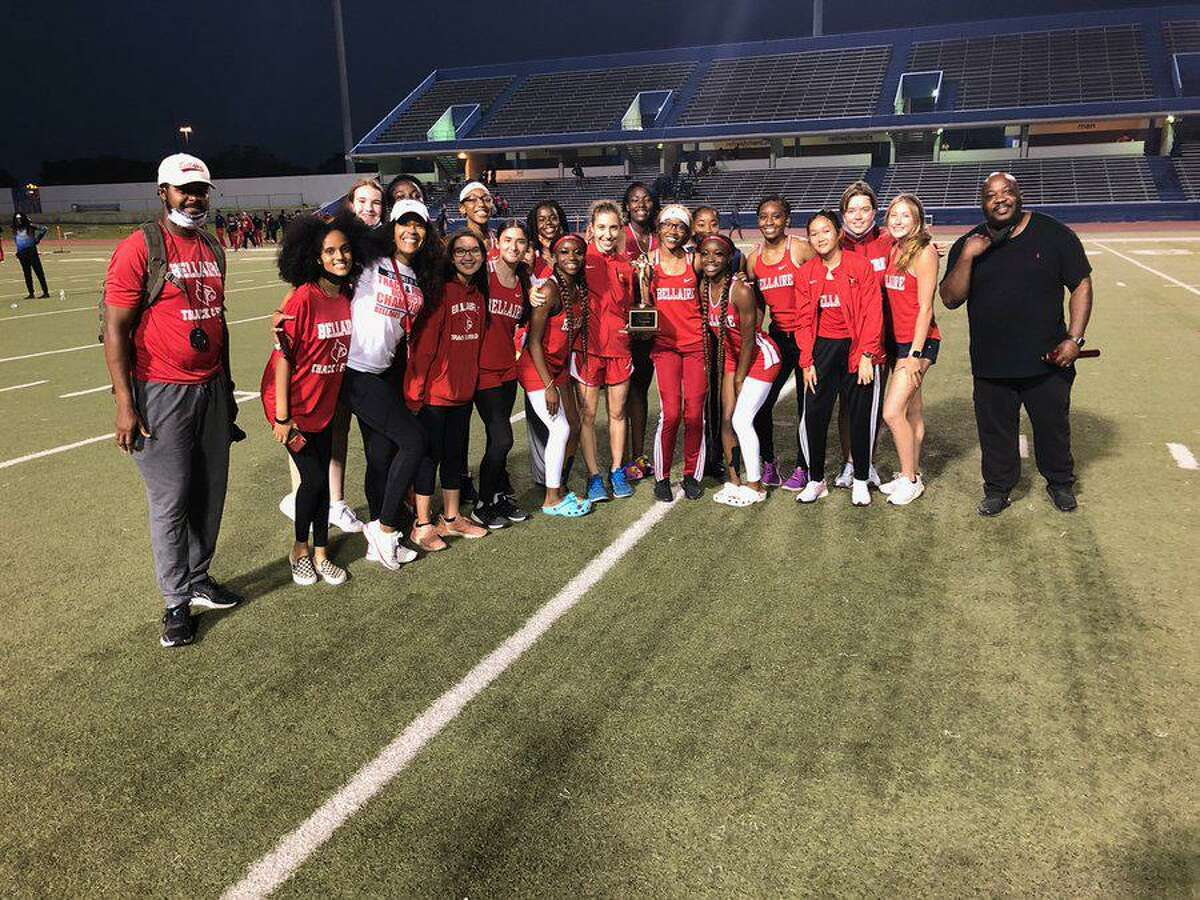 The Bellaire girls track and field team won the District 18-6A championship, winning nine events.