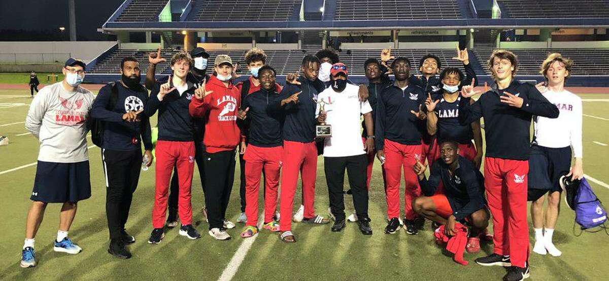 The Lamar boys track and field team won the District 18-6A championship, winning eight events including all three relays.