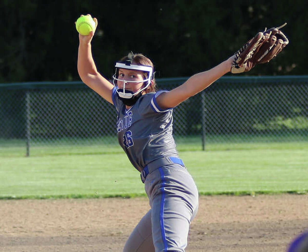Marquette Catholic sophomore Lauren Lenihan delivers a pitch to the plate during her one-hitter with 12 strikeouts and no walks against Civic Memorial on Monday at Moore Park in Alton.