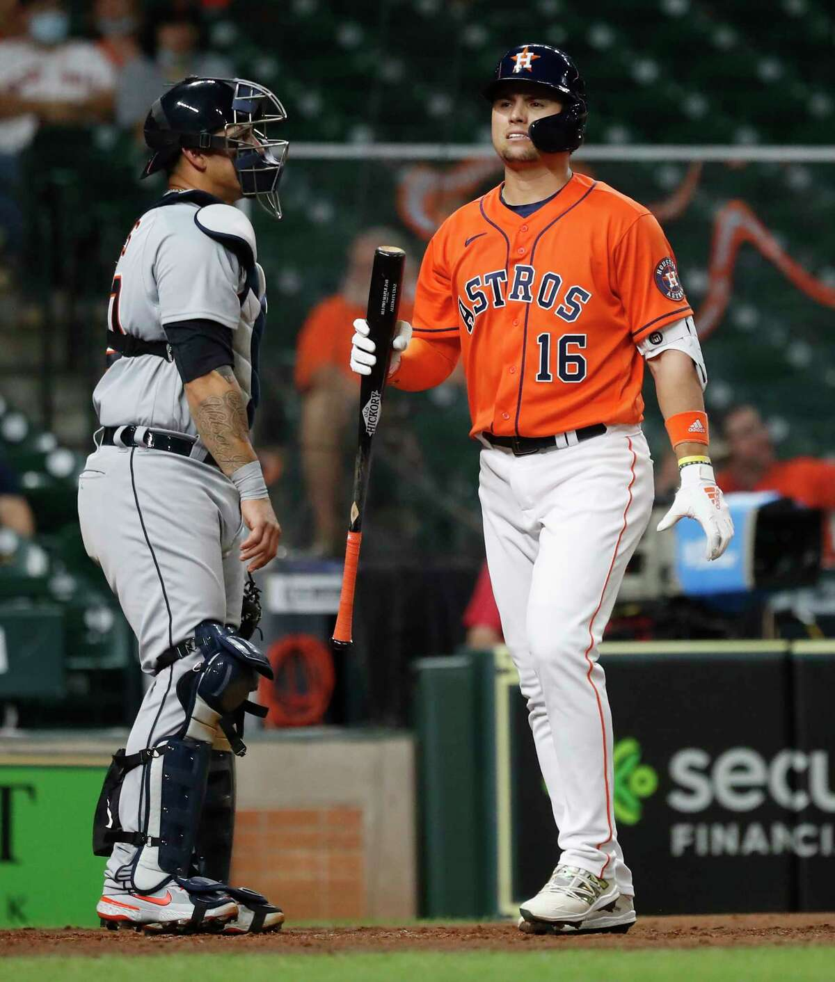 Houston Astros Aledmys Diaz (16) strikes out during the eighth inning of an MLB baseball game at Minute Maid Park, in Houston, Tuesday, April 13, 2021.