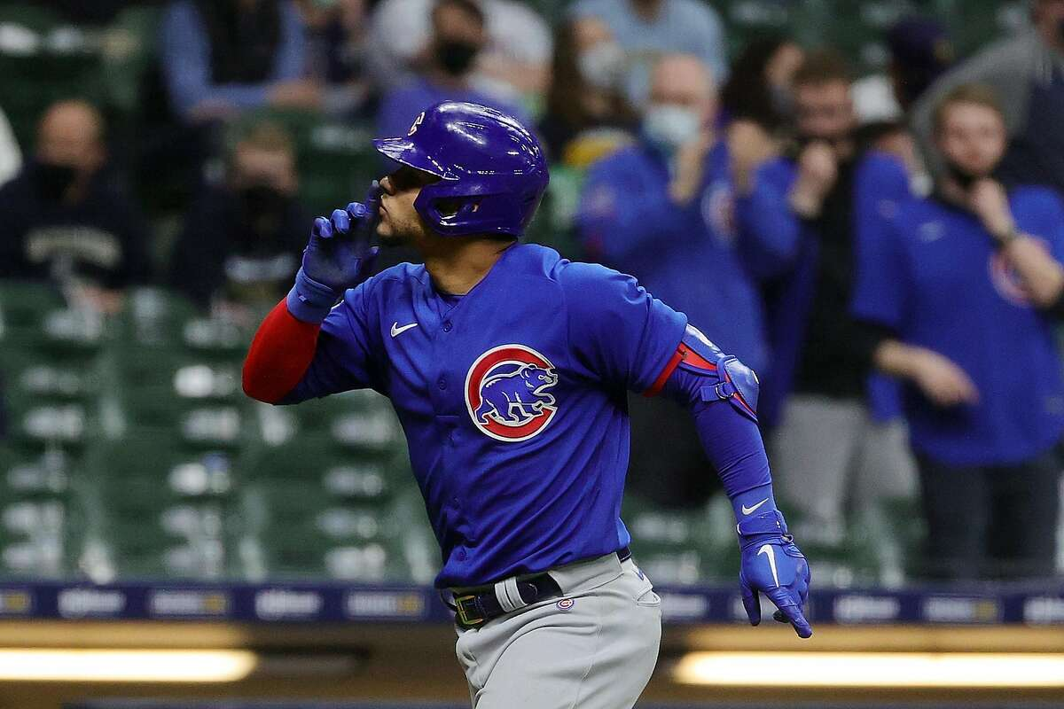 MILWAUKEE, WISCONSIN - APRIL 13: Willson Contreras #40 of the Chicago Cubs celebrates a two run home run during the eighth inning against the Milwaukee Brewers at American Family Field on April 13, 2021 in Milwaukee, Wisconsin. (Photo by Stacy Revere/Getty Images)