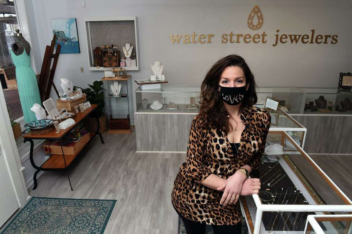 Bracelets and necklaces for sale at Water Street Jewelers in Madison. At right,