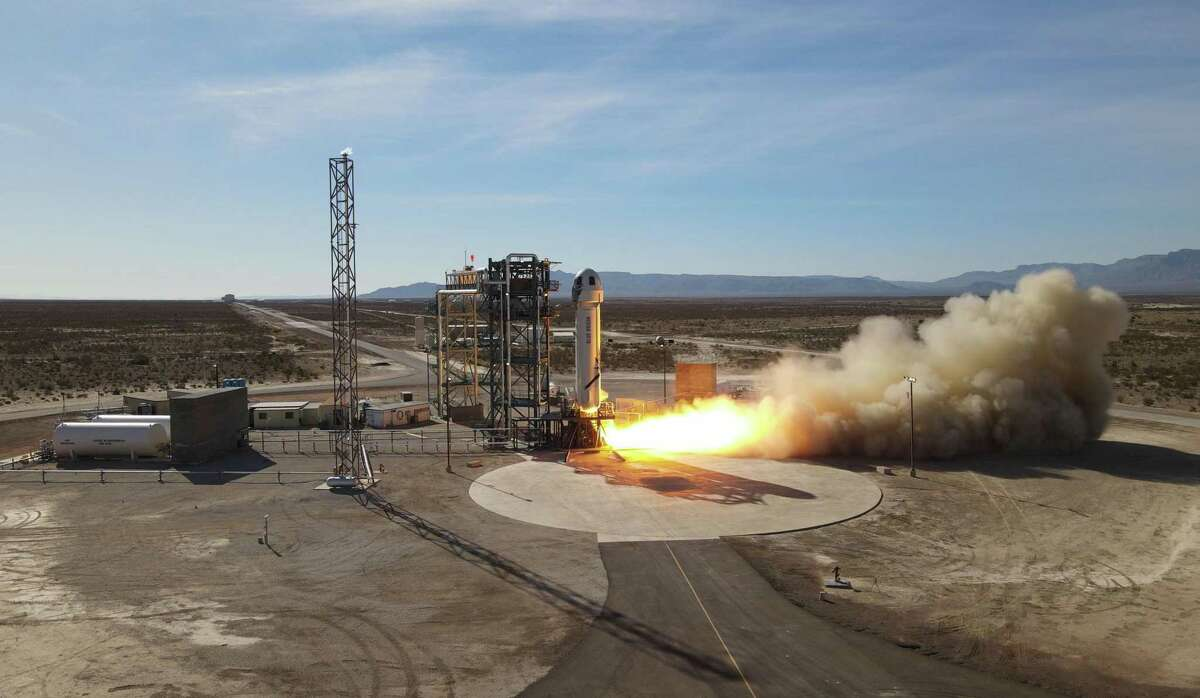 Blue Origin's New Shepard suborbital rocket system launches Jan. 14, 2021, from West Texas. It is scheduled to launch again on April 14, 2021.