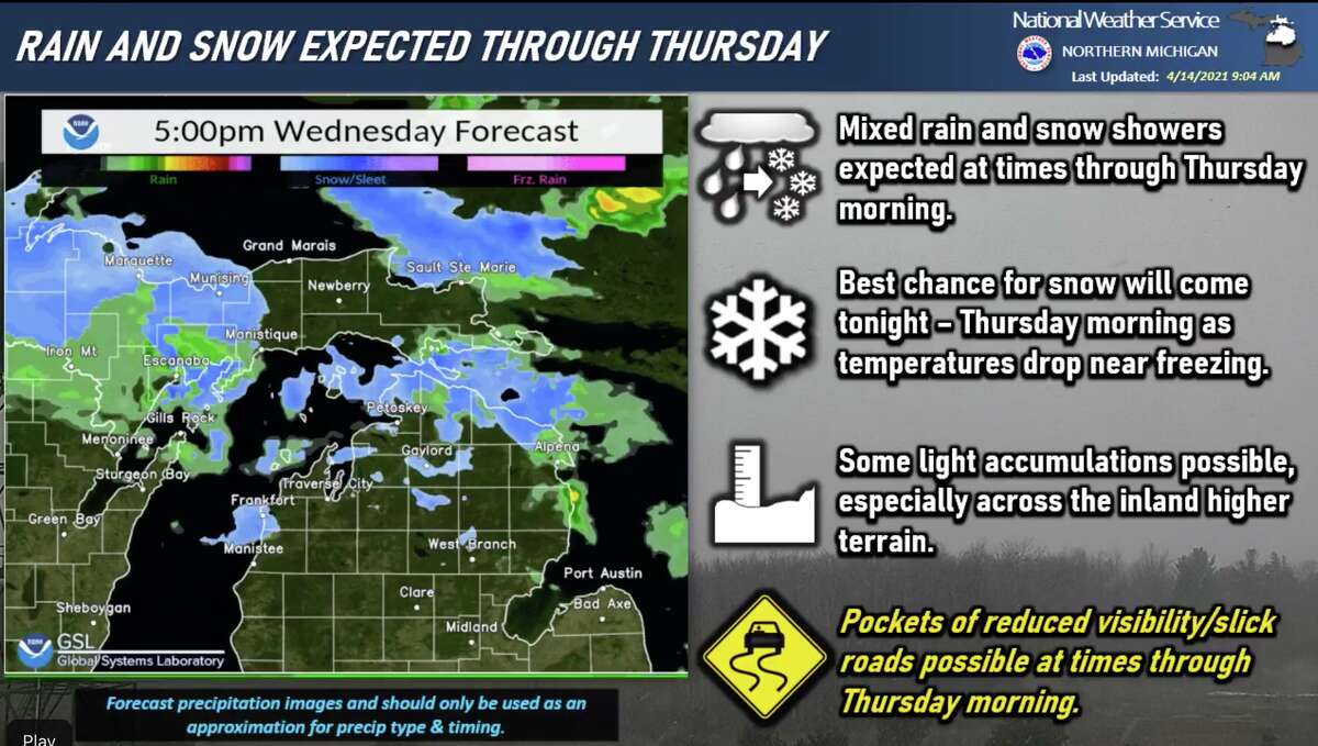 The National Weather Service Gaylord reports rain and snow showers will continue in its region through Thursday. Some light accumulations are possible.