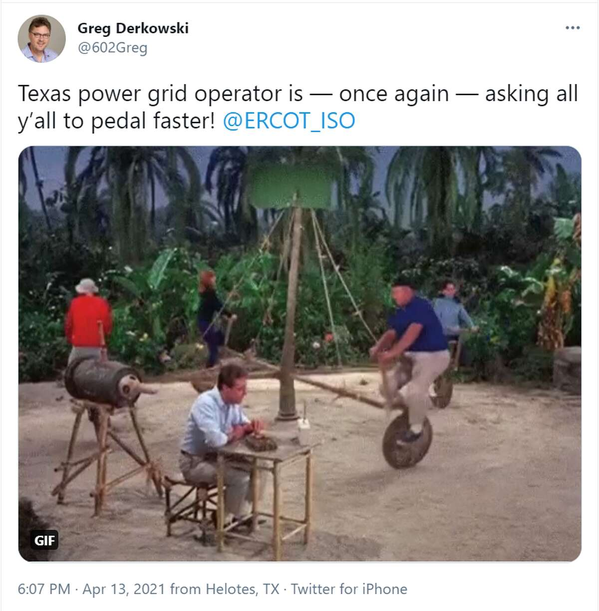@602Greg: Texas power grid operator is - once again - asking all y'all to pedal faster!@ERCOT_ISO