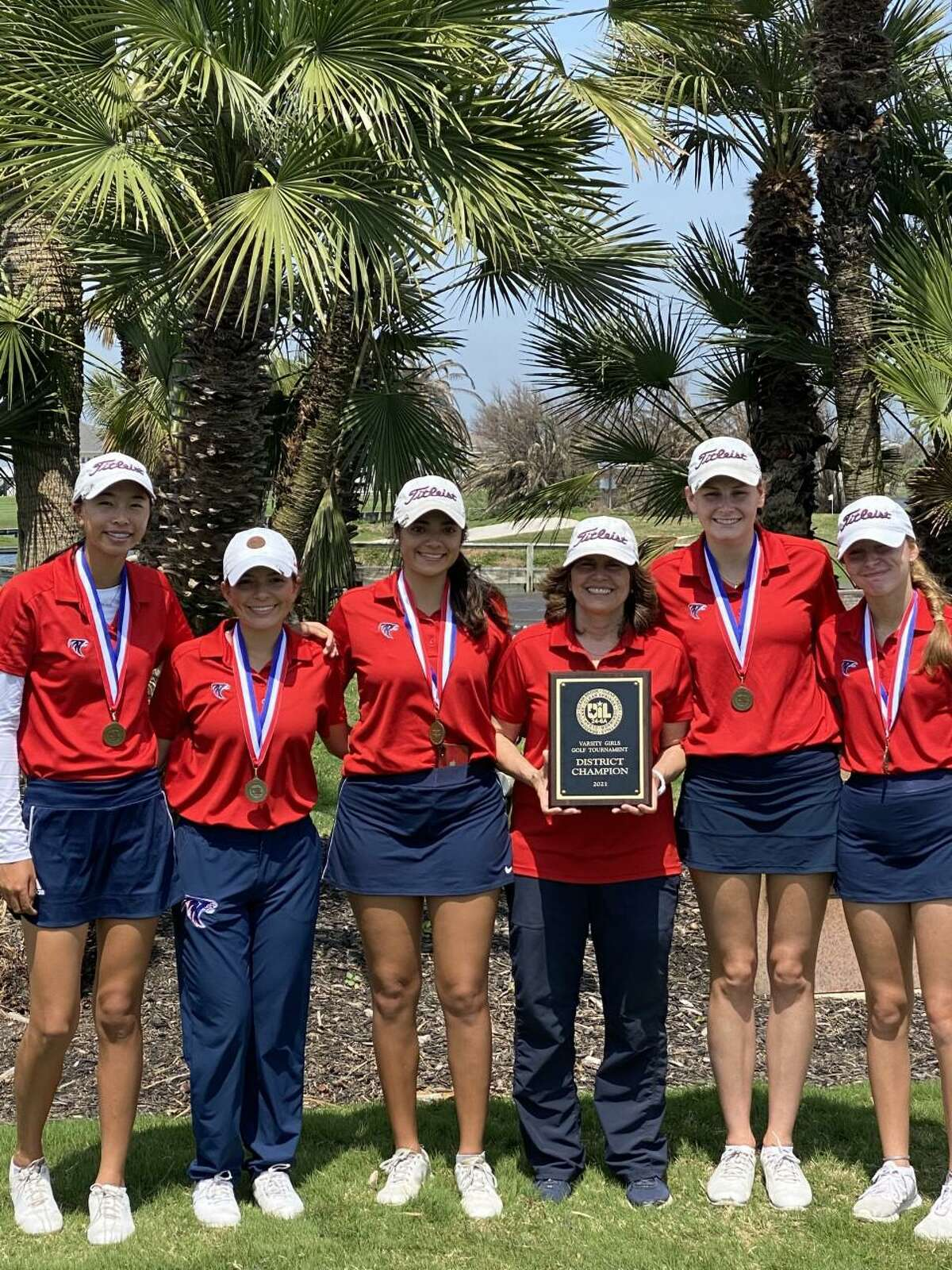 Clear Lake's Amelia Guo (far left) shot a 71 to highlight first-day performances of Clear Creek ISD athletes at the Region III-6A golf tournament Monday in Spring. Clear Lake is in fifth place while Clear Creek is in sixth entering Tuesday's final round.