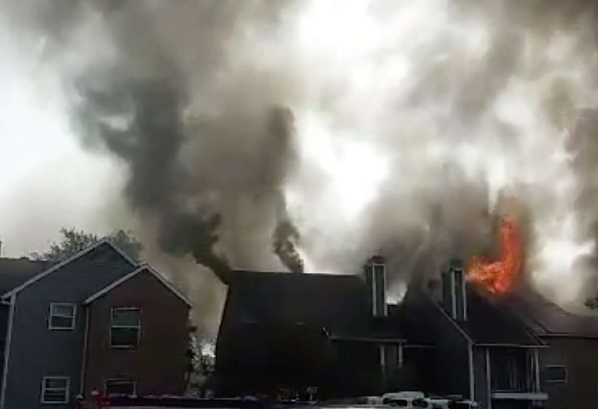 An image from a video captured by Benita Ruiz De Garcia of an apartment fire at a complex on the North Side. The fire displaced nearly 100 residents.
