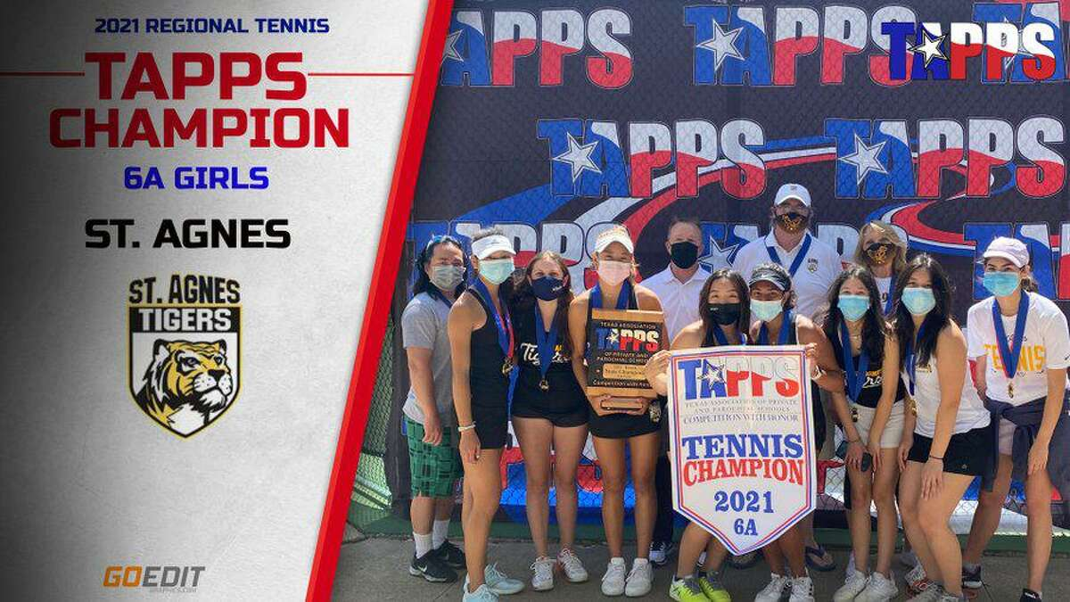 The St. Agnes Academy tennis team won its eighth consecutive TAPPS state championship April 6-7 at Waco Regional Tennis Center.