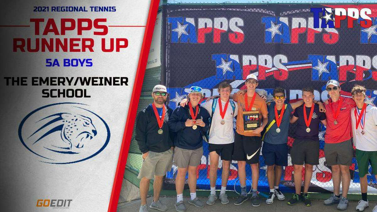 The Emery/Weiner boys tennis team was the TAPPS 5A runner-up with 21.5 points at the state tournament April 6-7 at Waco Regional Tennis Center.