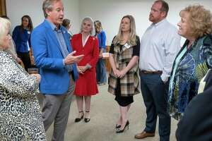 TX Attorney General Ken Paxton talks with members of the Midland County Republican Women 04/14/21 before a luncheon at the Midland Country Club. Tim Fischer/Reporter-Telegram