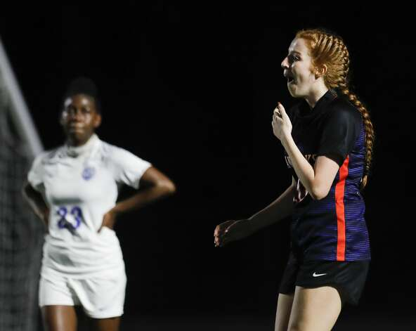 Grand Oak defender Hannah Stradling (10) reacts after her unassited corner kick goal during the first period of a non-district high school soccer match at Grand Oaks High School, Friday, Jan. 22, 2021, in Spring. Photo: Jason Fochtman/Staff Photographer / 2021 © Houston Chronicle
