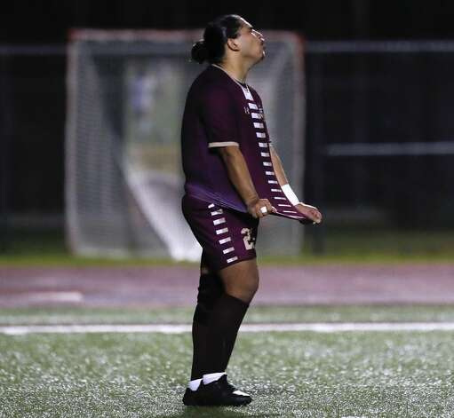 Magnolia West's Alexis Olivares (23) react after missing a penalty kick during the first period of a District 19-5A high school soccer match at Magnolia West High School, Wednesday, March 10, 2021, in Magnolia. Photo: Jason Fochtman/Staff Photographer / 2021 © Houston Chronicle
