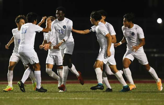 Katy Paetow's Toheeb Oladipupo (14) reacts after his second-period goal broke a 1-1 tie of a District 19-5A high school soccer match at Magnolia West High School, Wednesday, March 10, 2021, in Magnolia. Katy Paetow defeated Magnolia Wst 2-1. Photo: Jason Fochtman/Staff Photographer / 2021 © Houston Chronicle