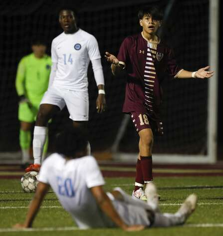 Magnolia West'€™s Cristian Palma (18) looks for a call during the second period of a District 19-5A high school soccer match at Magnolia West High School, Wednesday, March 10, 2021, in Magnolia. Katy Paetow defeated Magnolia Wst 2-1. Photo: Jason Fochtman/Staff Photographer / 2021 © Houston Chronicle