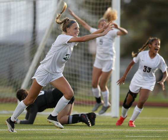 The Woodlands defender Janey Kauppinen (22) reacts after a free-kick goal by midfielder Emily Bates during the first period of a high school girls soccer playoff match at Klein Oak High School, Tuesday, March 30, 2021, in Spring. Photo: Jason Fochtman/Staff Photographer / 2021 © Houston Chronicle